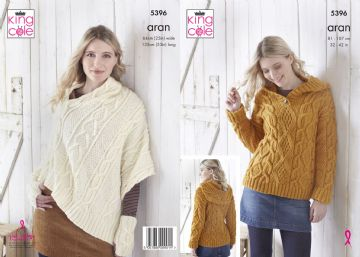 King Cole Aran Hoodie, Poncho and Hand Warmers Knitting Pattern , 5396